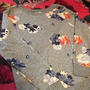 Old Navy Gray Floral Crewneck Sweater
